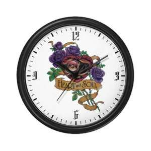 Wall Clock Heart and Soul Roses and Motorcycle Engine
