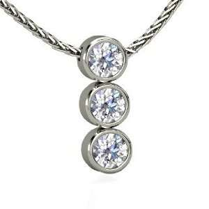Triple Decker Pendant, 14K White Gold Necklace with Diamond Jewelry