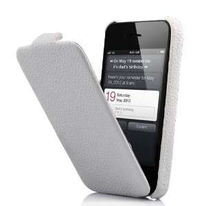 Leather Flip Case For iPhone 4 and 4S WHITE Cell Phones & Accessories