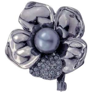 Black Flower Austrian Crystal Pearl Pin Brooch Jewelry