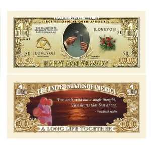 Set of 100 Happy Anniversary One Million Dollar Bill Toys & Games