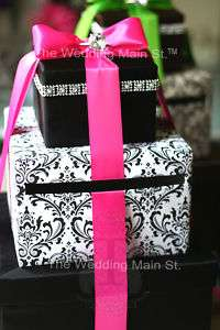 Wedding Card Box Money Holder Black Damask Hot Pink