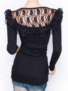 Elegant Stretchy Black Victorian Lace Ruffles Long Sleeves Tunic