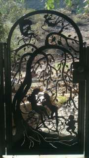 METAL ART GATE SALE CUSTOM WROUGHT IRON STEEL GARDEN DECORATIVE