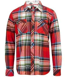 Quiksilver Mens Bigs Plaid Flannel Shirt Red