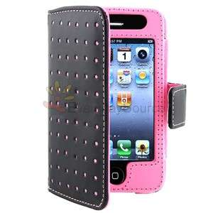 Pink Black Polka Dots Leather Flip Cover Skin Case for iPhone 4 G 4G