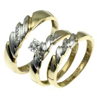 His and Her 10k yellow gold diamond wedding band ring