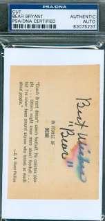 PAUL BEAR BRYANT SIGNED 3X5 CUT AUTOGRAPH PSA/DNA