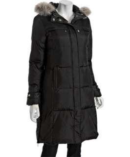 MICHAEL Michael Kors black quilted fur trim hooded down coat