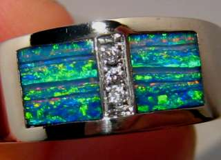 Unique Pattern Solid Inlay OPAL & DIAMOND Mens RING 10 Grams 14k