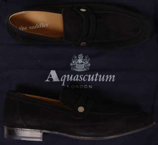 AQUASCUTUM SHOES $565 BLACK SUEDE LOGO SLOTTED VAMP HANDMADE LOAFERS 9