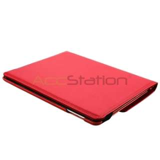 ° Rotating Portable Leather Case Hard Cover Swivel Stand Red
