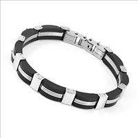 58 Mens Stainless Steel & rubber Elegant Bracelet