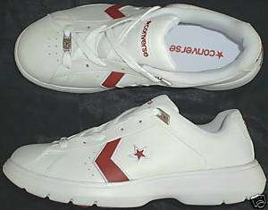 CONVERSE Womens Leather Athletic Shoes White with Red Size 10
