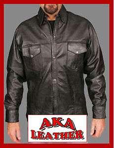 Classic Jean Shirt Style Black Leather Shirt S 5XL