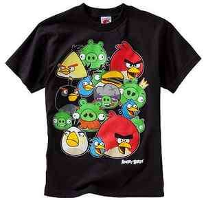New Boy Youth Angry Birds Shadow Group T Shirt Tee Size S M L XL