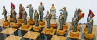 CIVIL WAR NEW chess set W/ 15 WOOD STORAGE BOARD