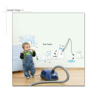 POLAR BEARS Mural Art Nursery Decor Decal Wall Stickers