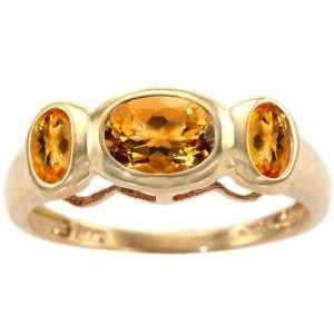 Yellow Gold Classic Three Stone Ring Citrine, size7 diViene Jewelry