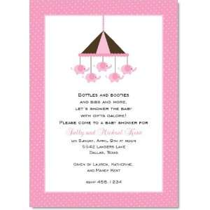 Elephant Parade Pink Baby Shower Invitations