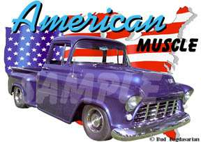 1955 Purple Chevy Pickup Truck Hot Rod USA T Shirt 55