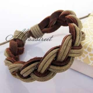 Fashion Hemp Leather Braid Bracelet Wristband Cool B38