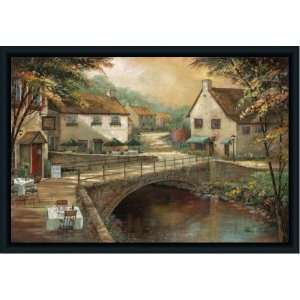 Michaels Pub French Italian Street Scene Print Framed