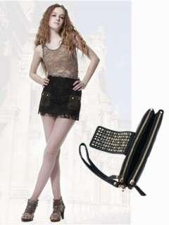Designer PU Leather Rivet Lady Girls Clutch Purse Wallet Bag Black