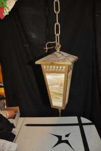 Vtg Slag Glass Hanging Lamp Arts & Crafts Era NICE