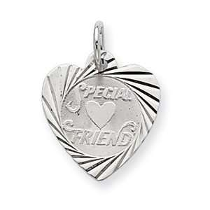 Sterling Silver Special Friend Disc Charm QC2329 Jewelry