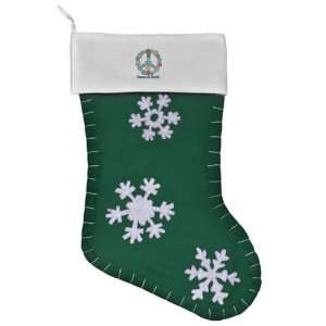 Felt Christmas Stocking Green Christmas Snowflake Wreath Peace Symbol