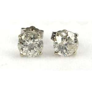 White Gold, Round, Diamond Stud Earrings (1.65 Ct H Color, I2 Clarity