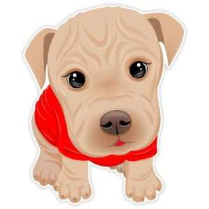 Cute Puppy Shar Pei Dog Car Bumper Sticker Decal 4.5x3.5