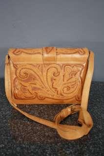 HAND TOOLED Leather LARGE Boho HIPPIE Gypsy Purse Tote Handbag