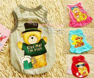 New Cute Bear Pet Dog Shirt Vest Cloth Apparel XS/S/M/L for Small Dogs