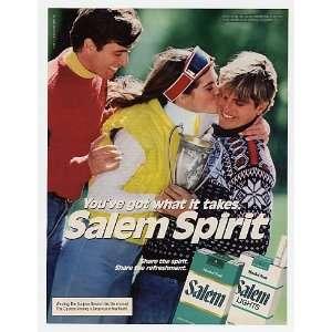 1985 Salem Spirit Cigarette Woman Man Trophy Print Ad