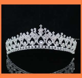 SHINY CLEAR RHIESTONE TIARA CROWN WITH COMBS PARTY WEDDING BRIDAL PROM
