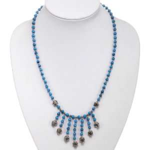 EXP Handmade Turquoise, Silver & Floral Bead Necklace Jewelry
