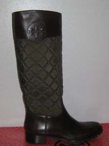 NIB Tory Burch Rowan Green & Brown Quilted Boots in 8.5
