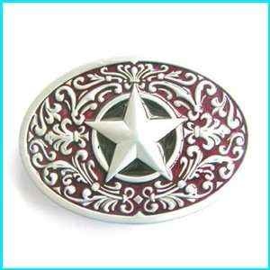 Lone Star State Texas Engraved Background Belt Buckle WT