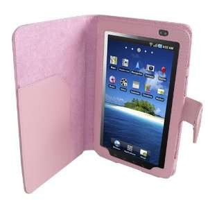 Pink Faux Leather Flip Wallet Case for Samsung Galaxy Tab Cell Phones