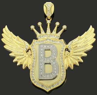 Mens Custom 14k Gold Plated Bling Initial Hip Hop Wing Pendant Iced