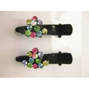 Multi Color Rhinestone Hearts Black Metal Hair Clips For Girls Beauty