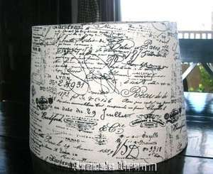 FRENCH SCRIPT DOCUMENT Drum Lamp Shade Country Shabby Cottage Chic