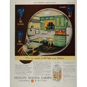 1931 Vintage Ad GE Edison Mazda Lamp Light Bulb Kitchen