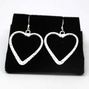 925 Silver Large Open Heart Drop Earrings by TOC: Jewelry