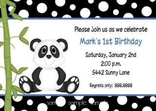 PANDA BEAR BIRTHDAY OR BABY SHOWER INVITATIONS