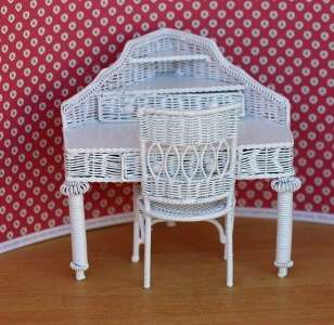 Miniature White Wire Corner Desk and Chair by Town Square Miniatures