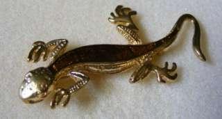 Vintage Estate Jewelry Gold Tone & Enamel Lizard Brooch Pin