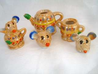 Mickey Mouse Disney Carnival Lustre Ware Tea Set c1930s Japan